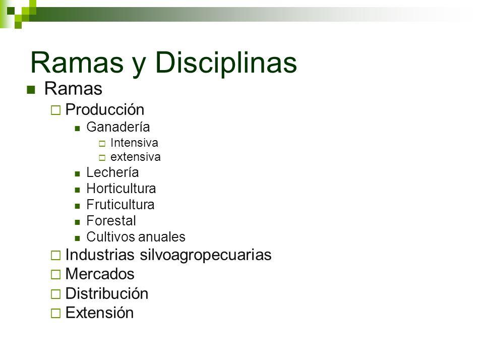 Ramas y Disciplinas Ramas Producción Ganadería Intensiva extensiva Lechería Horticultura Fruticultura Forestal Cultivos anuales Industrias silvoagrope
