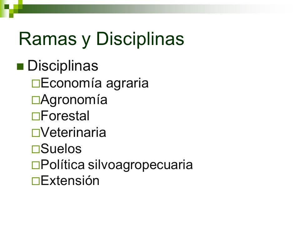 Ramas y Disciplinas Disciplinas Economía agraria Agronomía Forestal Veterinaria Suelos Política silvoagropecuaria Extensión