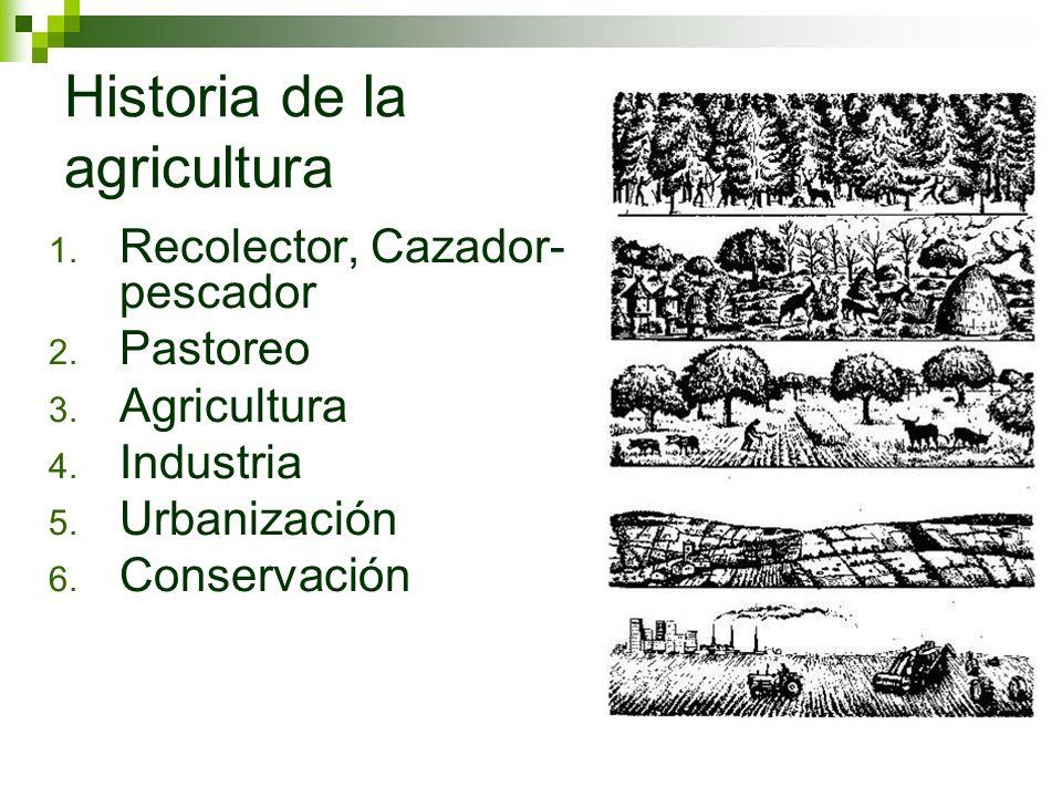Historia de la agricultura 1. Recolector, Cazador- pescador 2. Pastoreo 3. Agricultura 4. Industria 5. Urbanización 6. Conservación
