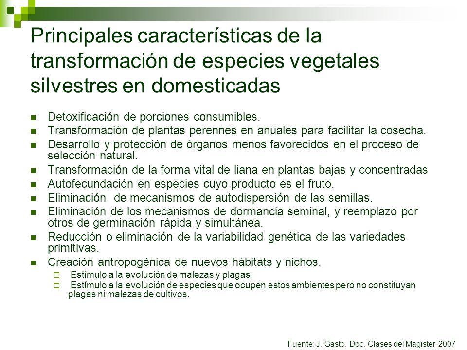 Principales características de la transformación de especies vegetales silvestres en domesticadas Detoxificación de porciones consumibles. Transformac
