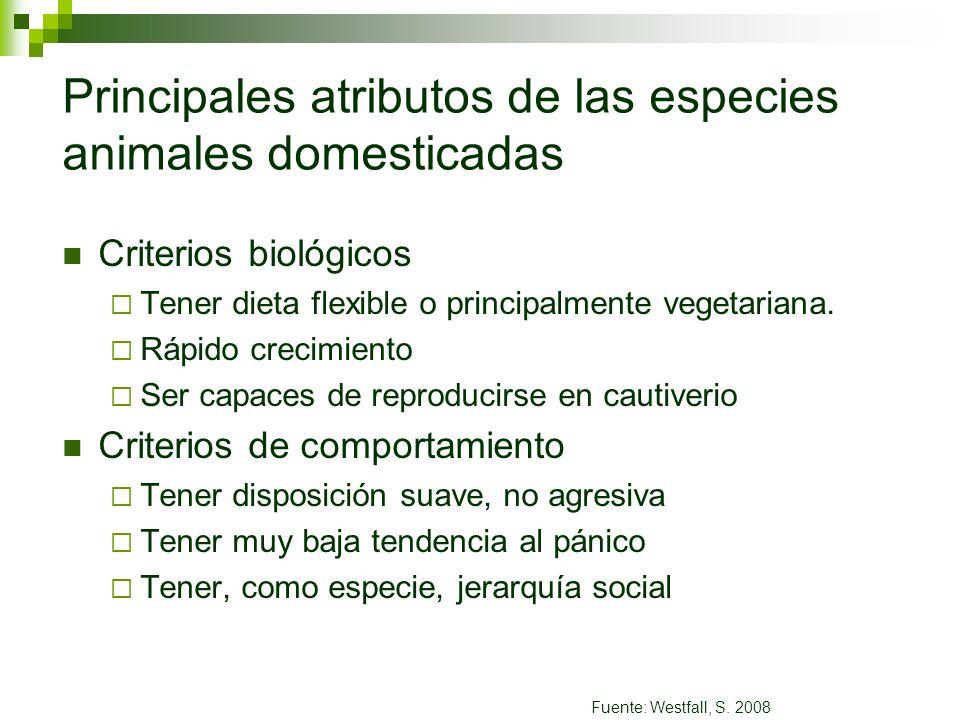 Principales atributos de las especies animales domesticadas Criterios biológicos Tener dieta flexible o principalmente vegetariana. Rápido crecimiento
