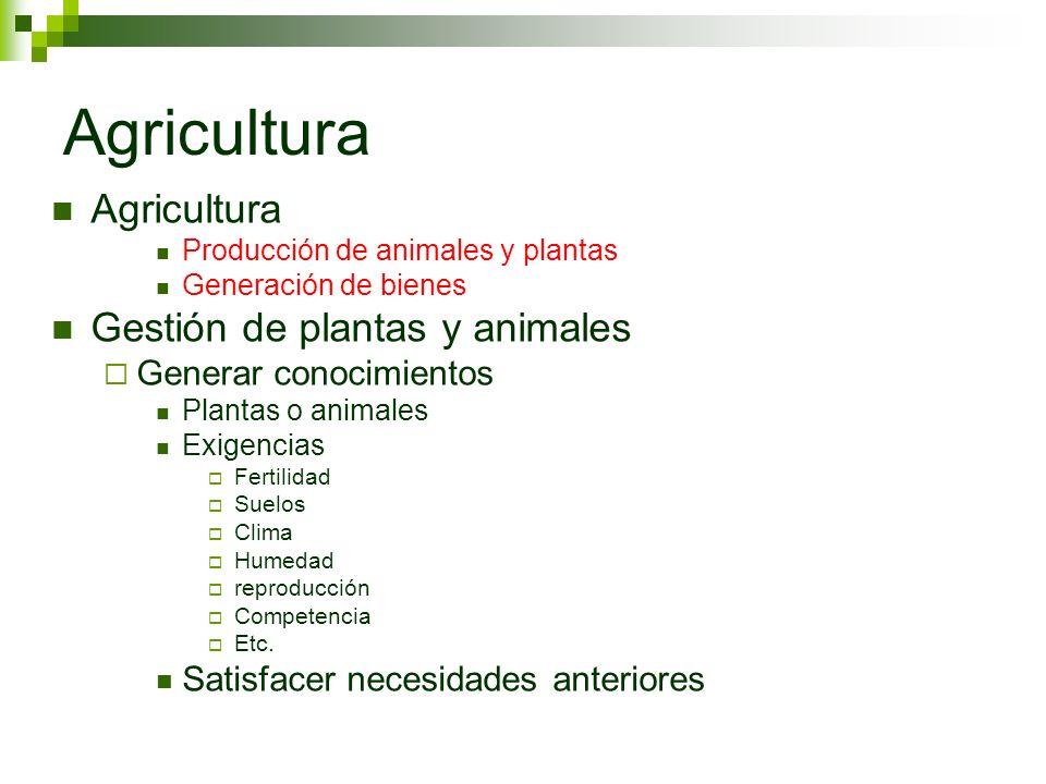 Agricultura Producción de animales y plantas Generación de bienes Gestión de plantas y animales Generar conocimientos Plantas o animales Exigencias Fe