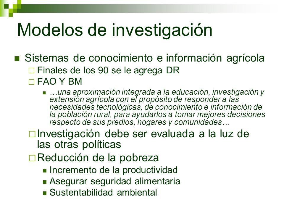 Modelos de investigación Sistemas de conocimiento e información agrícola Finales de los 90 se le agrega DR FAO Y BM …una aproximación integrada a la e