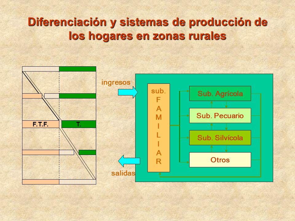 F.T.F.T. Sub. Agrícola Sub. Pecuario Sub. Silvícola Otros sub. F A M I L I A R ingresos salidas Diferenciación y sistemas de producción de los hogares