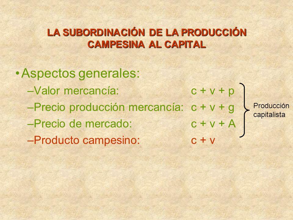 LA SUBORDINACIÓN DE LA PRODUCCIÓN CAMPESINA AL CAPITAL Aspectos generales: –Valor mercancía: c + v + p –Precio producción mercancía:c + v + g –Precio