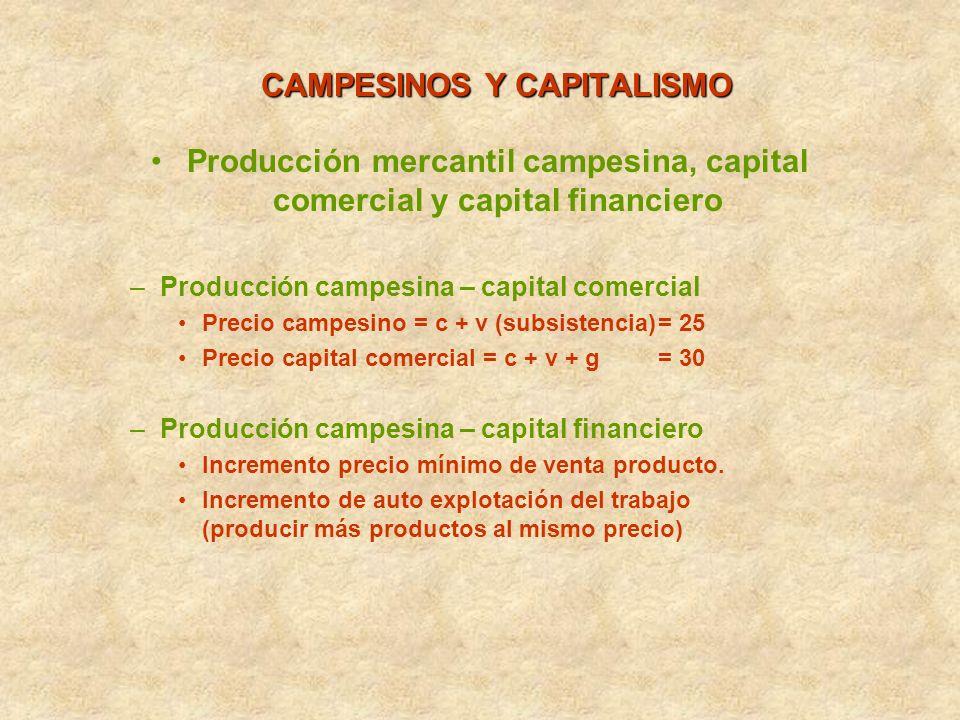 CAMPESINOS Y CAPITALISMO Producción mercantil campesina, capital comercial y capital financiero –Producción campesina – capital comercial Precio campe