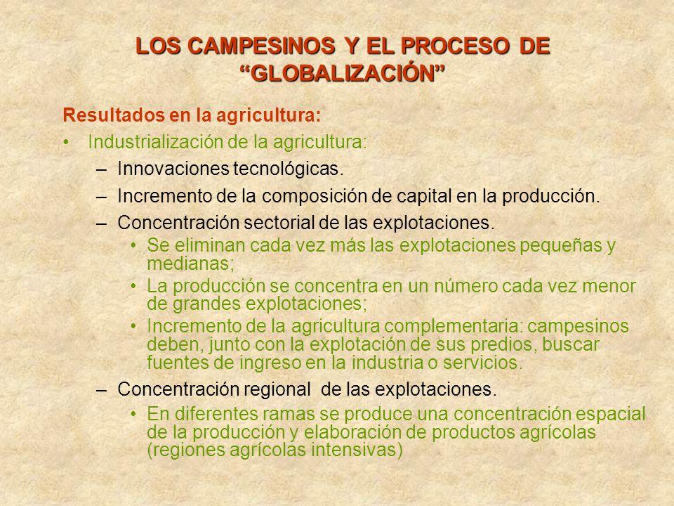 LOS CAMPESINOS Y EL PROCESO DE GLOBALIZACIÓN Resultados en la agricultura: Industrialización de la agricultura: –I–Innovaciones tecnológicas. –I–Incre