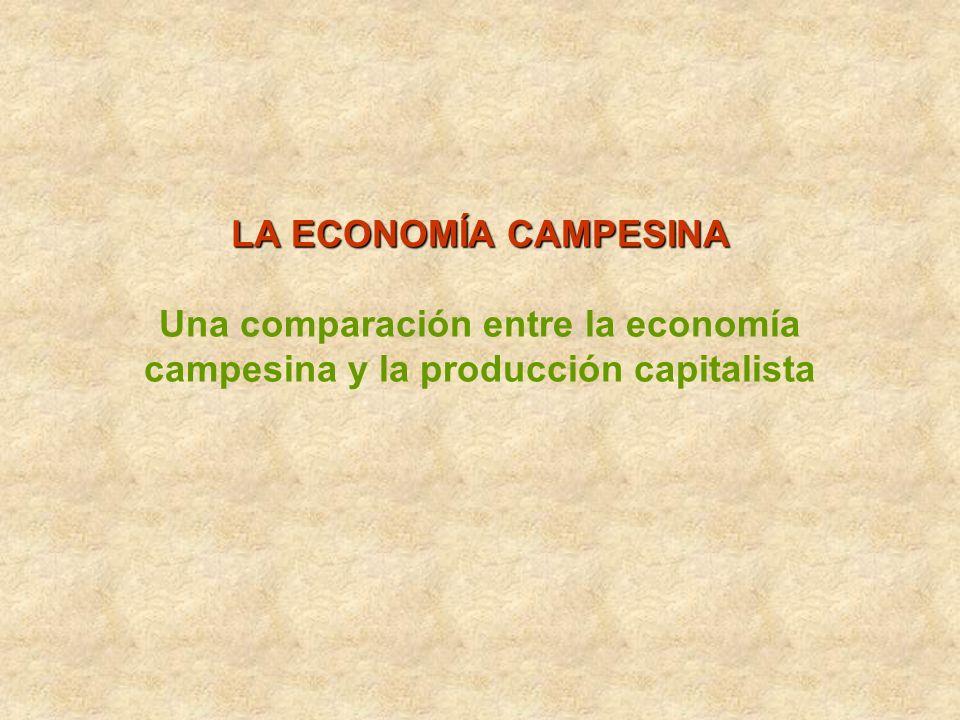 LA ECONOMÍA CAMPESINA LA ECONOMÍA CAMPESINA Una comparación entre la economía campesina y la producción capitalista