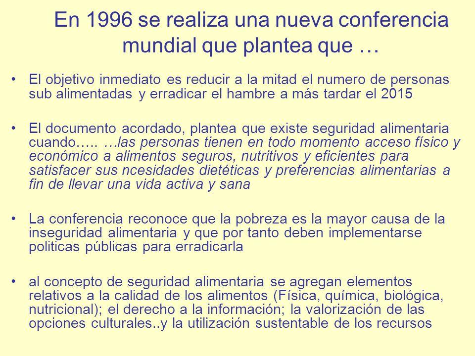 En 1996 se realiza una nueva conferencia mundial que plantea que … El objetivo inmediato es reducir a la mitad el numero de personas sub alimentadas y