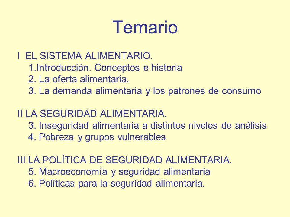 Temario I EL SISTEMA ALIMENTARIO. 1.Introducción. Conceptos e historia 2. La oferta alimentaria. 3. La demanda alimentaria y los patrones de consumo I