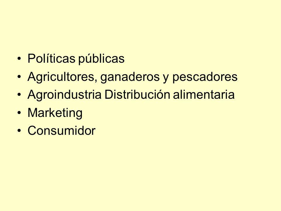Políticas públicas Agricultores, ganaderos y pescadores Agroindustria Distribución alimentaria Marketing Consumidor