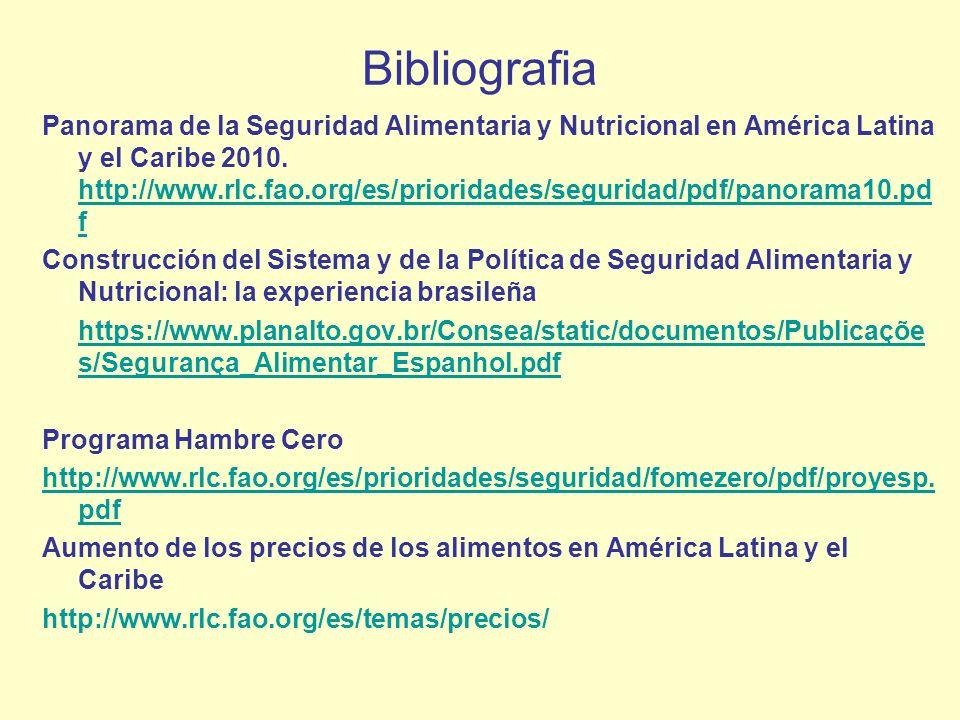Bibliografia Panorama de la Seguridad Alimentaria y Nutricional en América Latina y el Caribe 2010. http://www.rlc.fao.org/es/prioridades/seguridad/pd