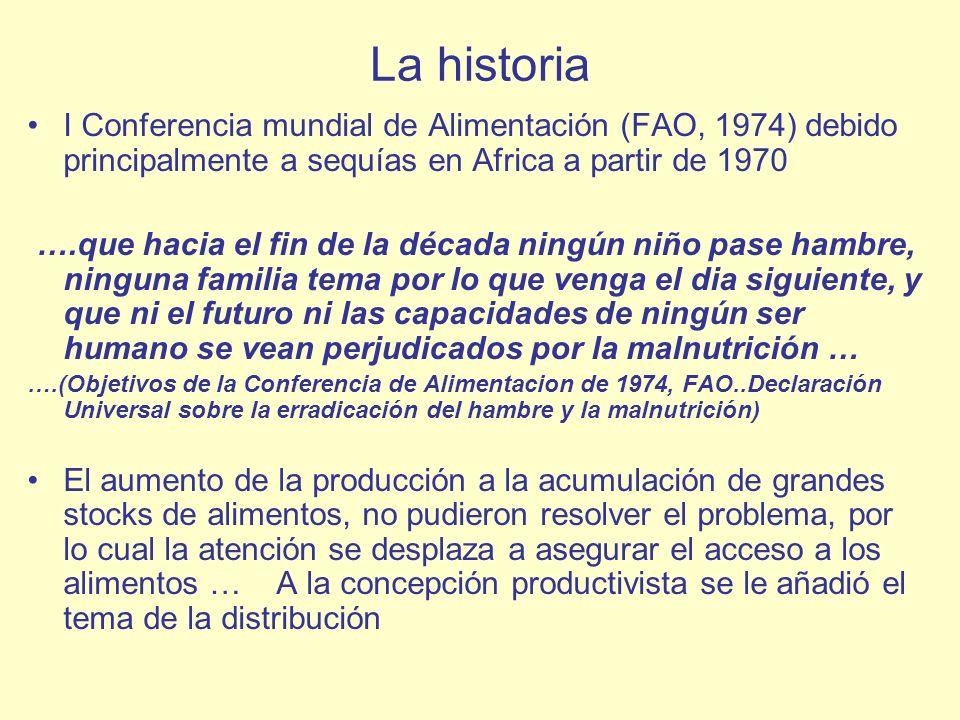 La historia I Conferencia mundial de Alimentación (FAO, 1974) debido principalmente a sequías en Africa a partir de 1970 ….que hacia el fin de la déca