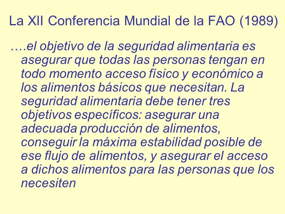 La XII Conferencia Mundial de la FAO (1989) ….el objetivo de la seguridad alimentaria es asegurar que todas las personas tengan en todo momento acceso