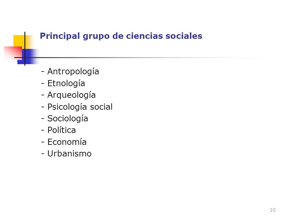 Principal grupo de ciencias sociales - Antropología - Etnología - Arqueología - Psicología social - Sociología - Política - Economía - Urbanismo 10