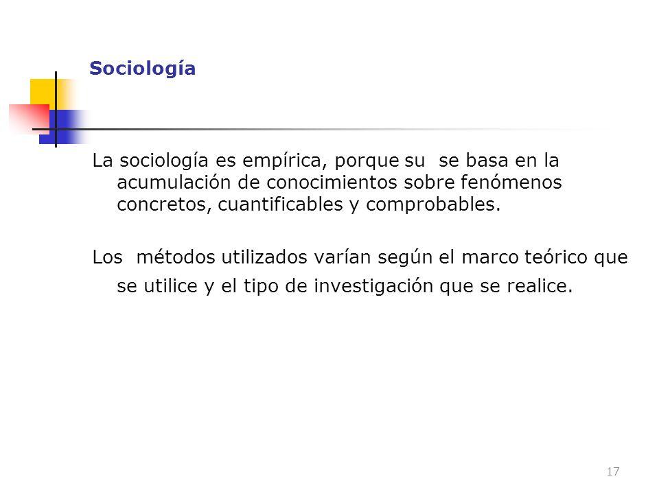 Sociología La sociología es empírica, porque su se basa en la acumulación de conocimientos sobre fenómenos concretos, cuantificables y comprobables. L
