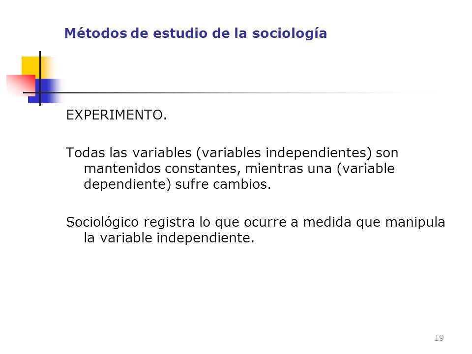 Métodos de estudio de la sociología EXPERIMENTO. Todas las variables (variables independientes) son mantenidos constantes, mientras una (variable depe