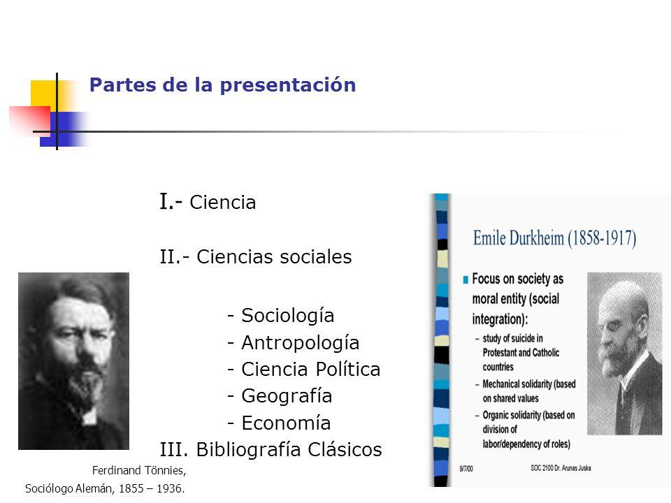 Partes de la presentación I.- Ciencia II.- Ciencias sociales - Sociología - Antropología - Ciencia Política - Geografía - Economía III. Bibliografía C