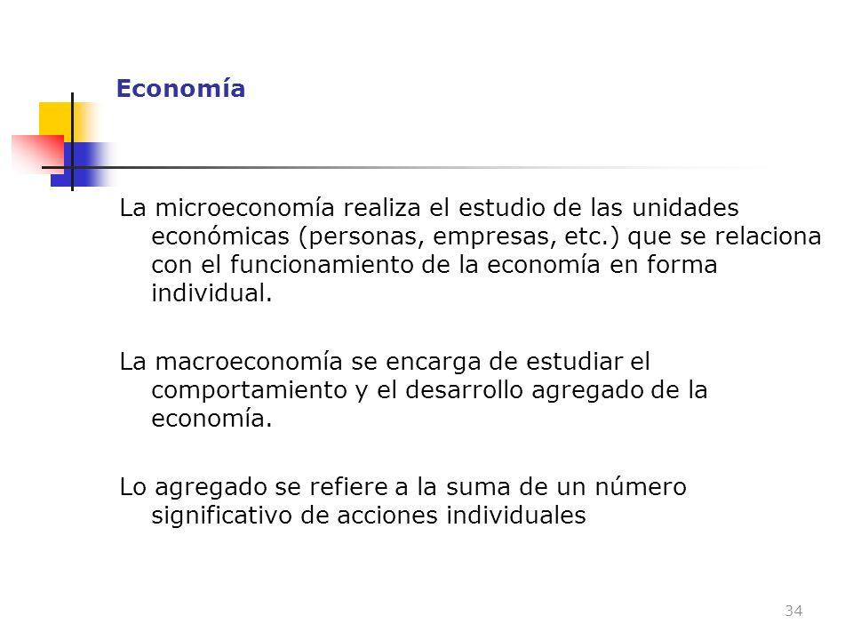 Economía La microeconomía realiza el estudio de las unidades económicas (personas, empresas, etc.) que se relaciona con el funcionamiento de la econom