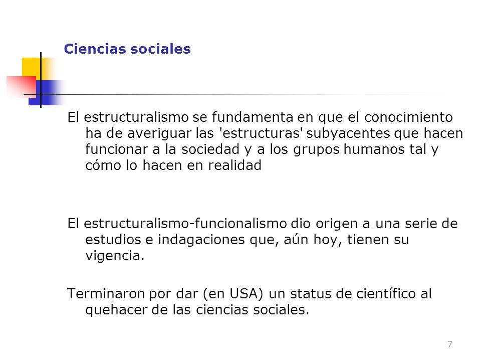 Ciencias sociales El estructuralismo se fundamenta en que el conocimiento ha de averiguar las 'estructuras' subyacentes que hacen funcionar a la socie