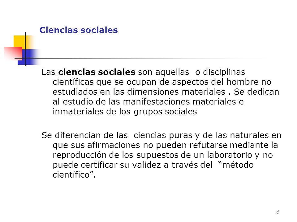 Ciencias sociales Las ciencias sociales son aquellas o disciplinas científicas que se ocupan de aspectos del hombre no estudiados en las dimensiones m