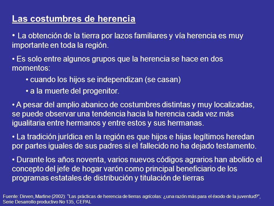 Las costumbres de herencia La obtención de la tierra por lazos familiares y vía herencia es muy importante en toda la región. Es solo entre algunos gr