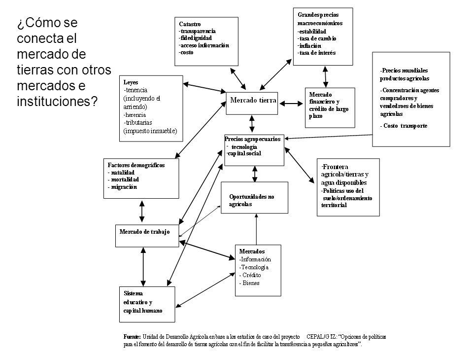 ¿Cómo se conecta el mercado de tierras con otros mercados e instituciones?