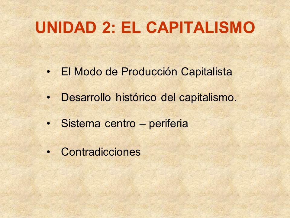 UNIDAD 2: EL CAPITALISMO El Modo de Producción Capitalista Desarrollo histórico del capitalismo. Sistema centro – periferia Contradicciones