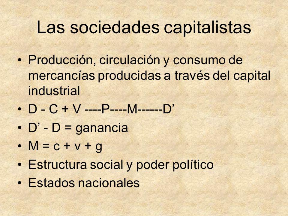 Las sociedades capitalistas Producción, circulación y consumo de mercancías producidas a través del capital industrial D - C + V ----P----M------D D -