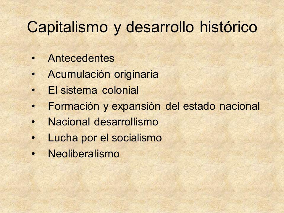 Capitalismo y desarrollo histórico Antecedentes Acumulación originaria El sistema colonial Formación y expansión del estado nacional Nacional desarrol