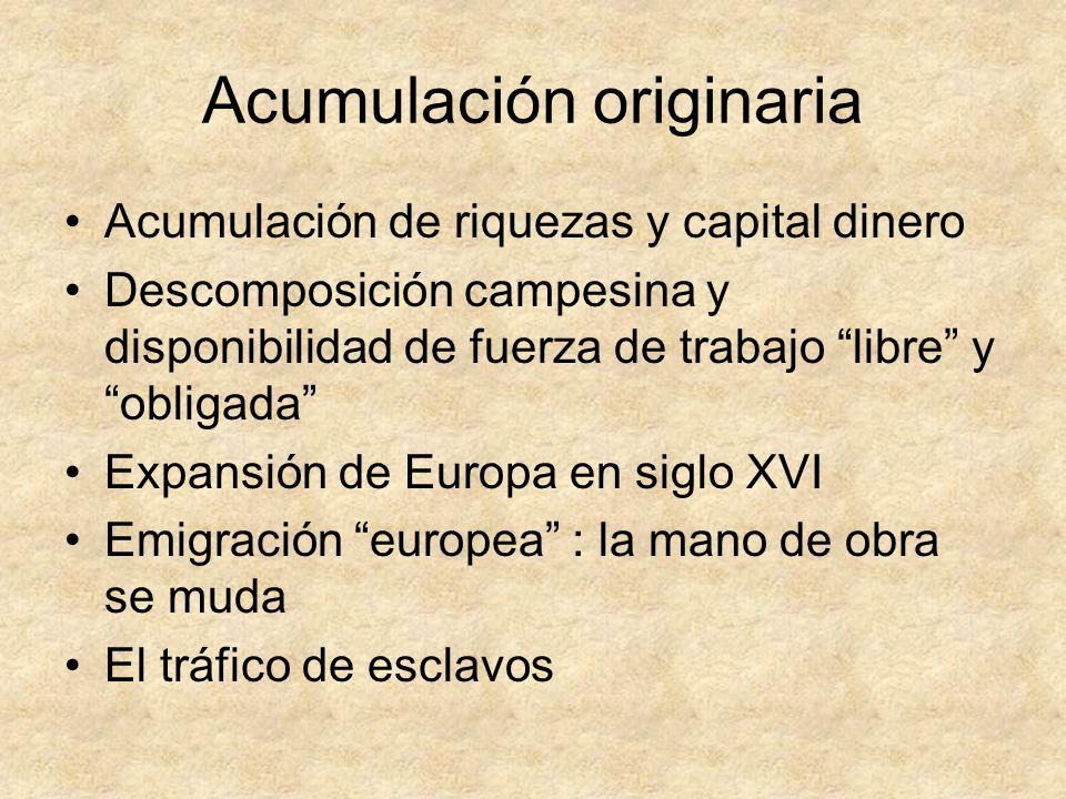 Acumulación originaria Acumulación de riquezas y capital dinero Descomposición campesina y disponibilidad de fuerza de trabajo libre y obligada Expans