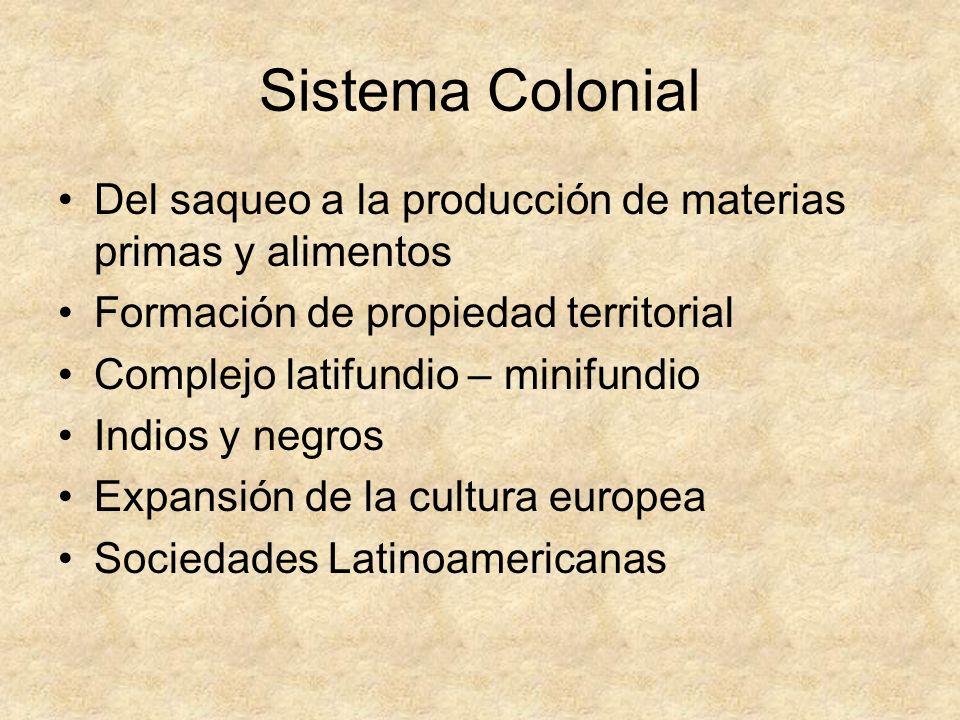 Sistema Colonial Del saqueo a la producción de materias primas y alimentos Formación de propiedad territorial Complejo latifundio – minifundio Indios