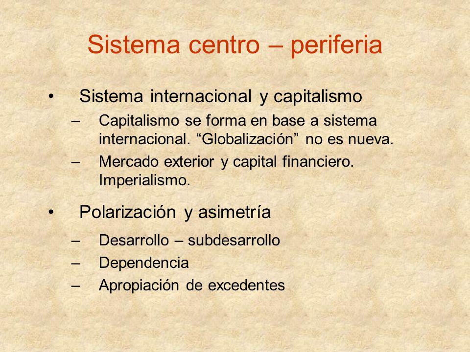 Sistema centro – periferia Sistema internacional y capitalismo –Capitalismo se forma en base a sistema internacional. Globalización no es nueva. –Merc
