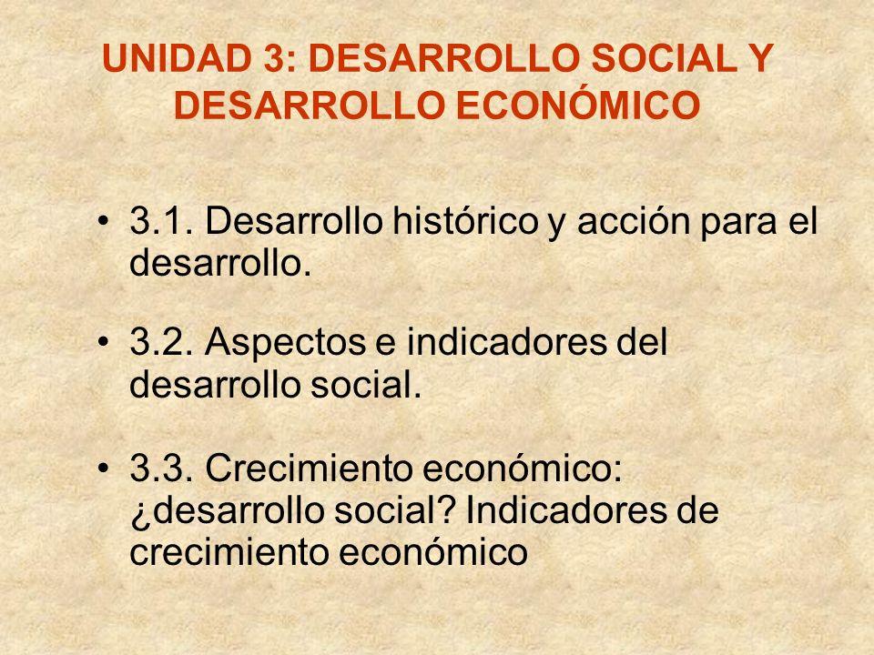 UNIDAD 3: DESARROLLO SOCIAL Y DESARROLLO ECONÓMICO 3.1. Desarrollo histórico y acción para el desarrollo. 3.2. Aspectos e indicadores del desarrollo s