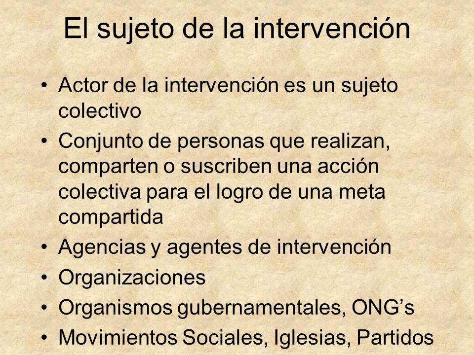 El sujeto de la intervención Actor de la intervención es un sujeto colectivo Conjunto de personas que realizan, comparten o suscriben una acción colec