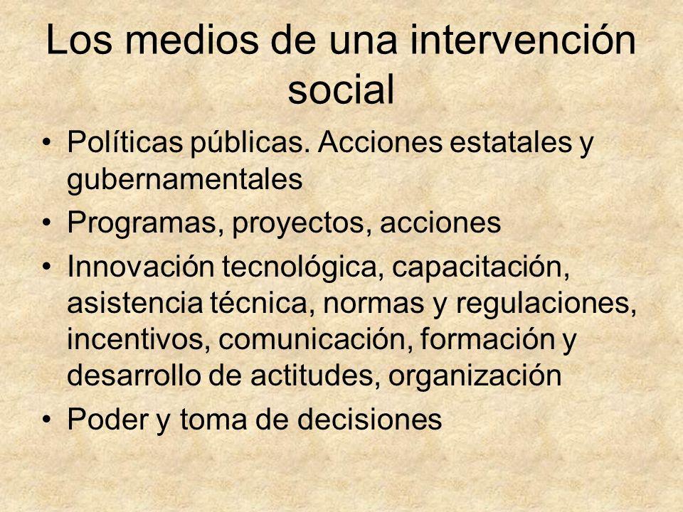 Los medios de una intervención social Políticas públicas. Acciones estatales y gubernamentales Programas, proyectos, acciones Innovación tecnológica,