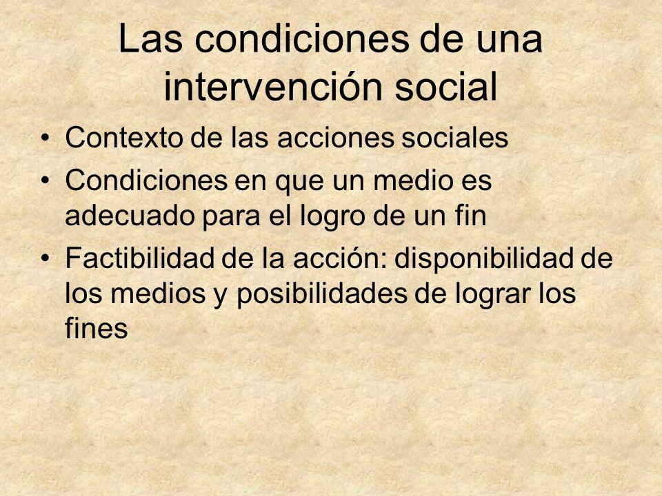 Las condiciones de una intervención social Contexto de las acciones sociales Condiciones en que un medio es adecuado para el logro de un fin Factibili
