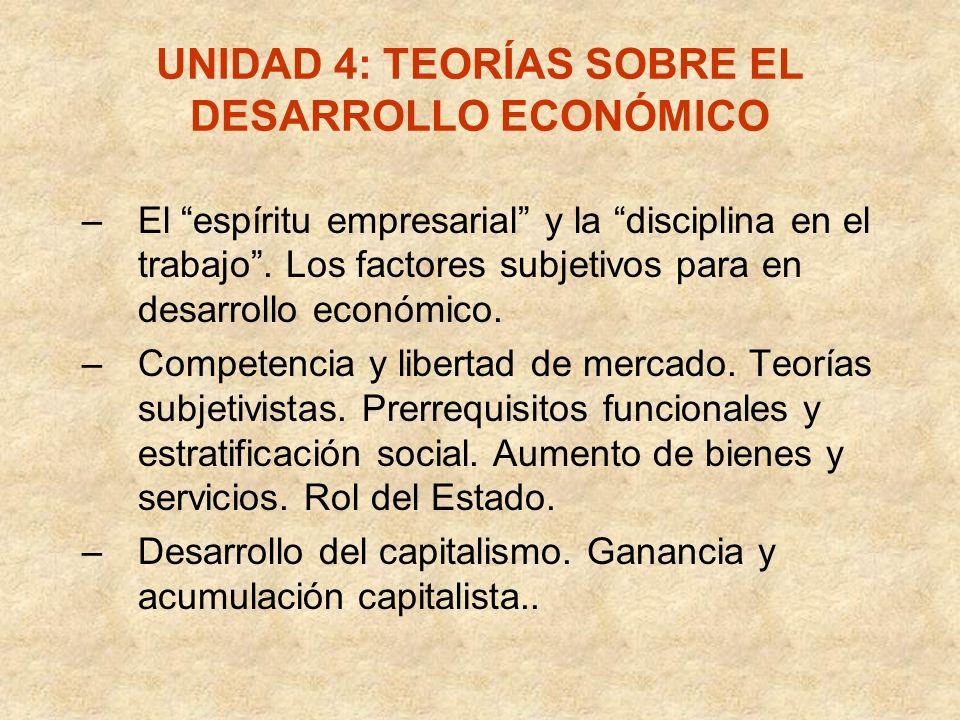 UNIDAD 4: TEORÍAS SOBRE EL DESARROLLO ECONÓMICO –El espíritu empresarial y la disciplina en el trabajo. Los factores subjetivos para en desarrollo eco