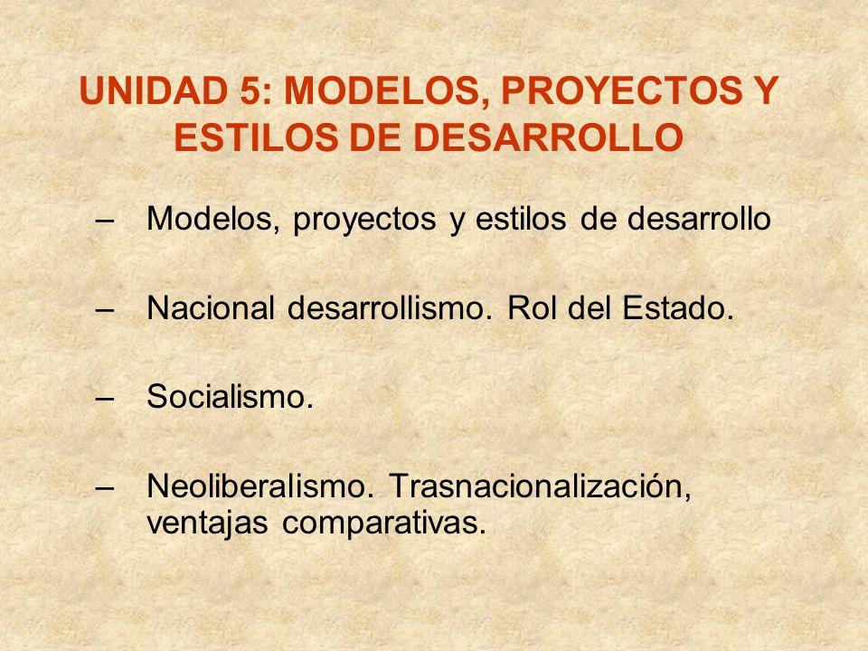 UNIDAD 5: MODELOS, PROYECTOS Y ESTILOS DE DESARROLLO –Modelos, proyectos y estilos de desarrollo –Nacional desarrollismo. Rol del Estado. –Socialismo.