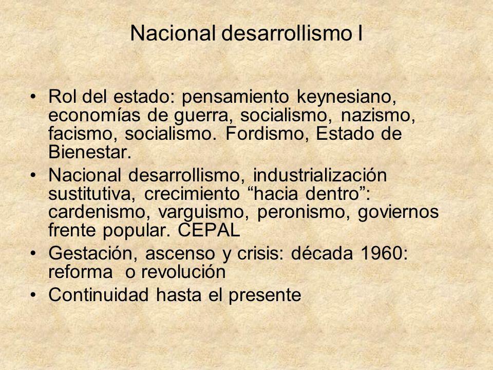 Nacional desarrollismo I Rol del estado: pensamiento keynesiano, economías de guerra, socialismo, nazismo, facismo, socialismo. Fordismo, Estado de Bi