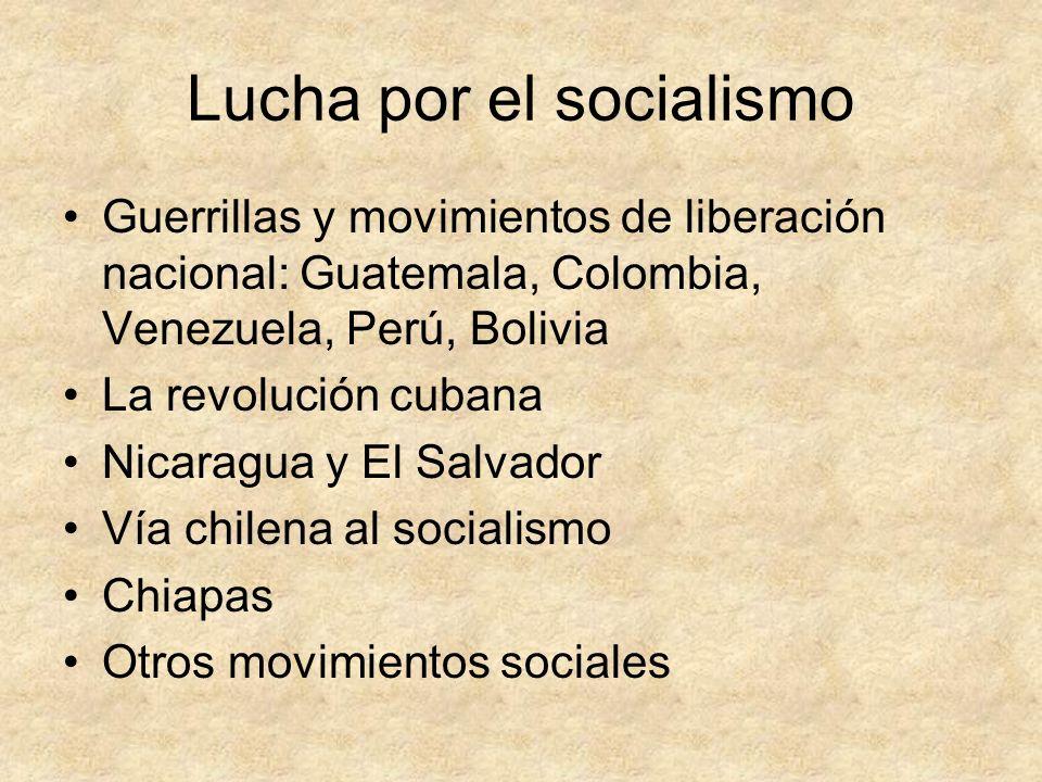 Lucha por el socialismo Guerrillas y movimientos de liberación nacional: Guatemala, Colombia, Venezuela, Perú, Bolivia La revolución cubana Nicaragua
