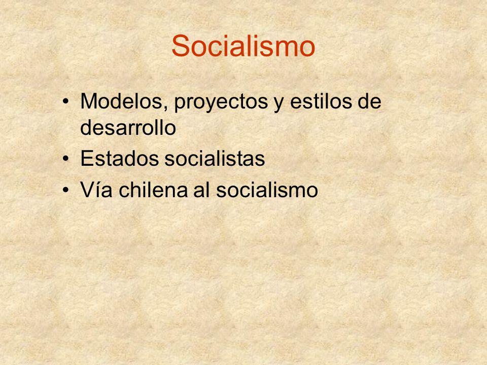 Socialismo Modelos, proyectos y estilos de desarrollo Estados socialistas Vía chilena al socialismo