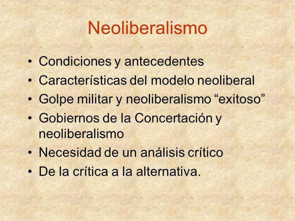 Neoliberalismo Condiciones y antecedentes Características del modelo neoliberal Golpe militar y neoliberalismo exitoso Gobiernos de la Concertación y