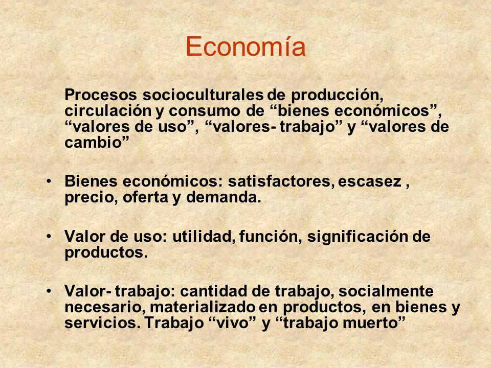 Economía Procesos socioculturales de producción, circulación y consumo de bienes económicos, valores de uso, valores- trabajo y valores de cambio Bien