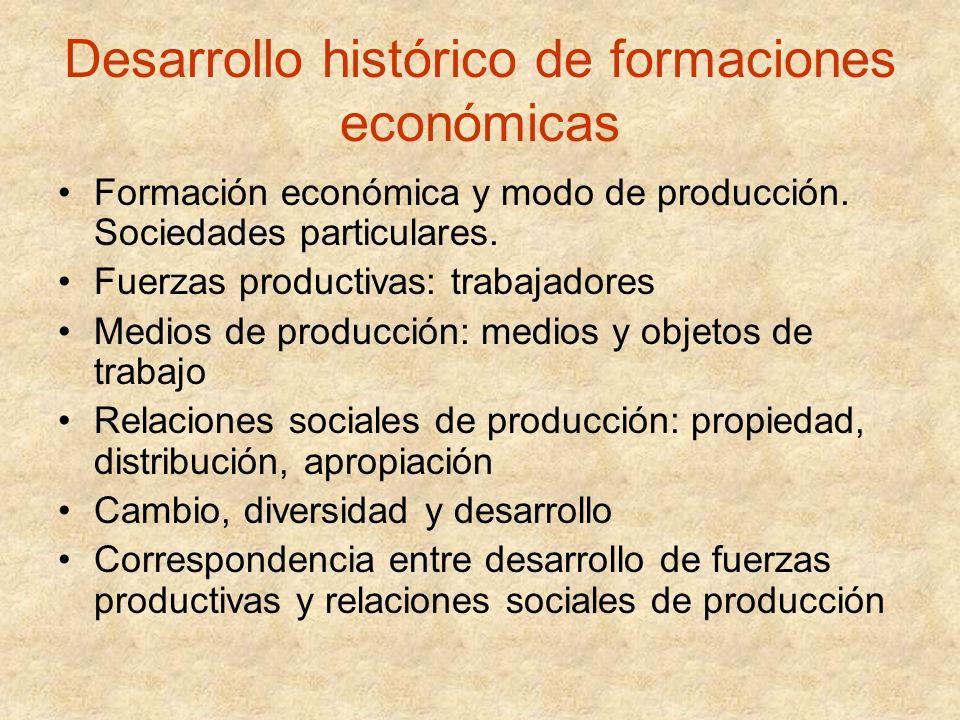 Desarrollo histórico de formaciones económicas Formación económica y modo de producción. Sociedades particulares. Fuerzas productivas: trabajadores Me