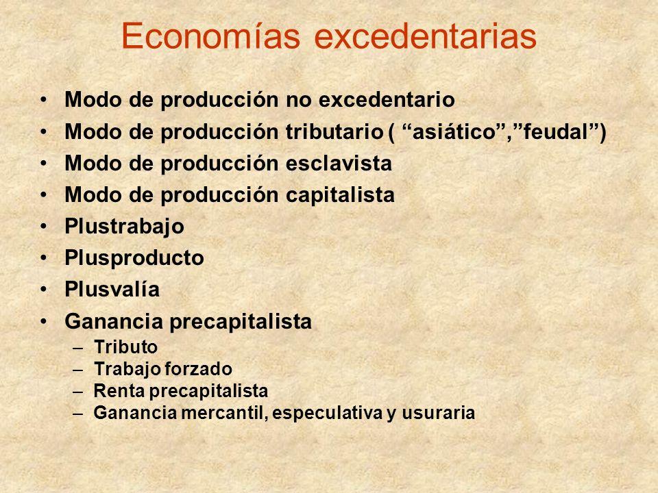 Economías excedentarias Modo de producción no excedentario Modo de producción tributario ( asiático,feudal) Modo de producción esclavista Modo de prod