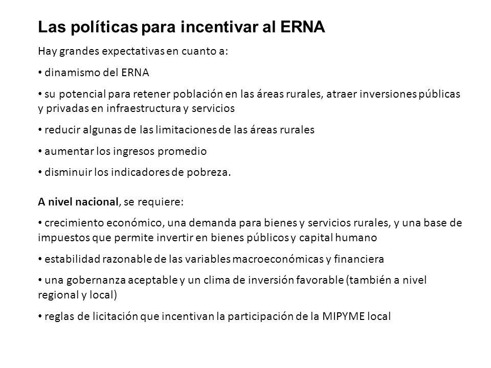 Las políticas para incentivar al ERNA Hay grandes expectativas en cuanto a: dinamismo del ERNA su potencial para retener población en las áreas rurale