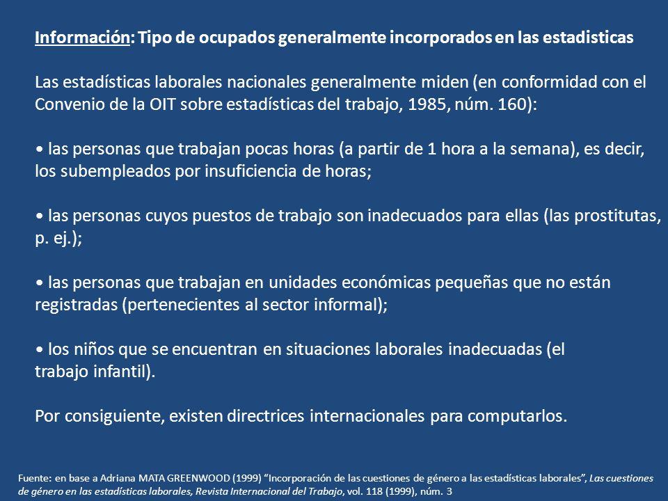 Información: Tipo de ocupados generalmente incorporados en las estadisticas Las estadísticas laborales nacionales generalmente miden (en conformidad c