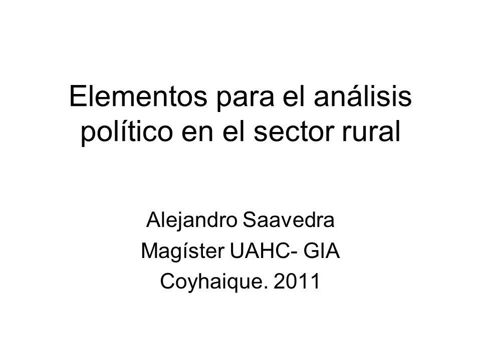 Elementos para el análisis político en el sector rural Alejandro Saavedra Magíster UAHC- GIA Coyhaique. 2011