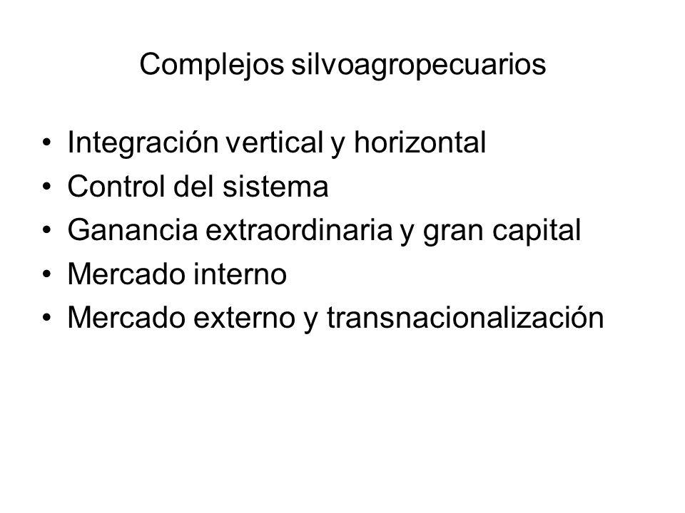 Complejos silvoagropecuarios Integración vertical y horizontal Control del sistema Ganancia extraordinaria y gran capital Mercado interno Mercado exte